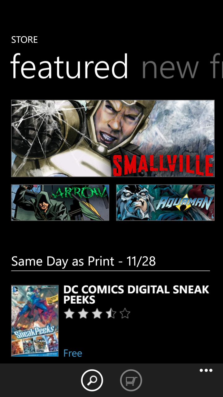 The DC Comics app in the Windows Marketplace shares some of the same characteristics of the ComiXology app on other platforms.