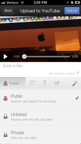 The app lets you change your privacy settings for videos uploaded to YouTube or Google Plus, but not Facebook.
