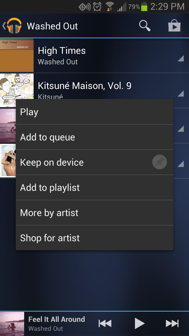 Google Music allows users to download music for offline listening.