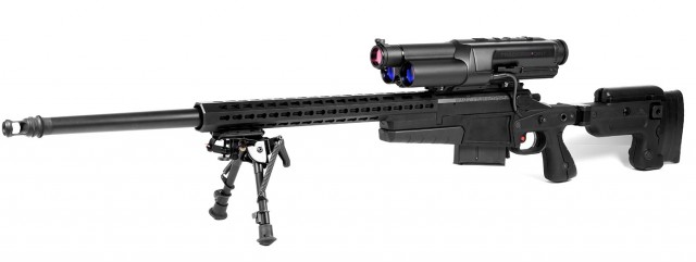 The TrackingPoint XS1, chambered in a .338 Lapua Magnum, with a 27-inch Krieger barrel and 300 grain match rounds.