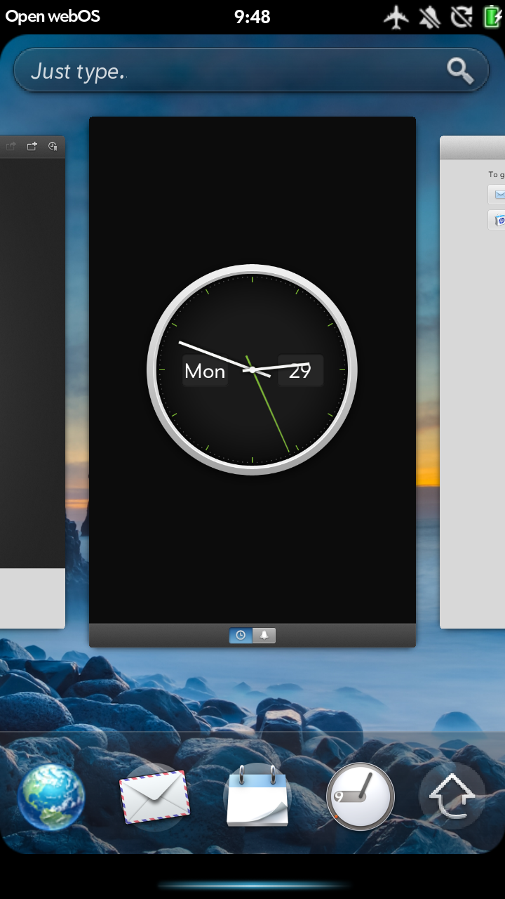 A screenshot of webOS running on Android.