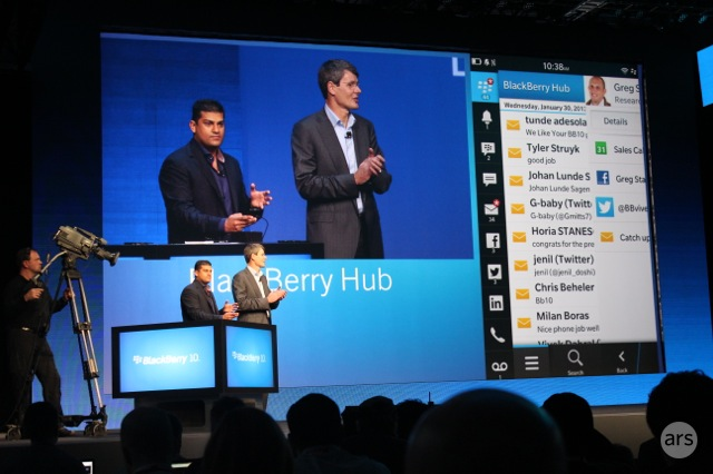BlackBerry Hub demonstration at the launch event.