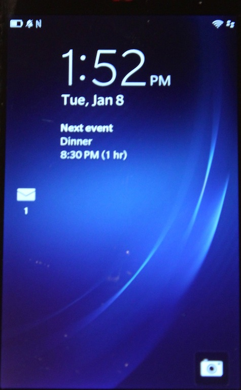 A blurry glimpse at BlackBerry 10's lock screen.