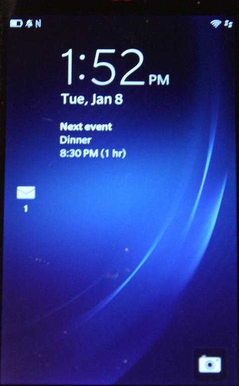 A blurry glimpse at BlackBerry 10's lock screen.