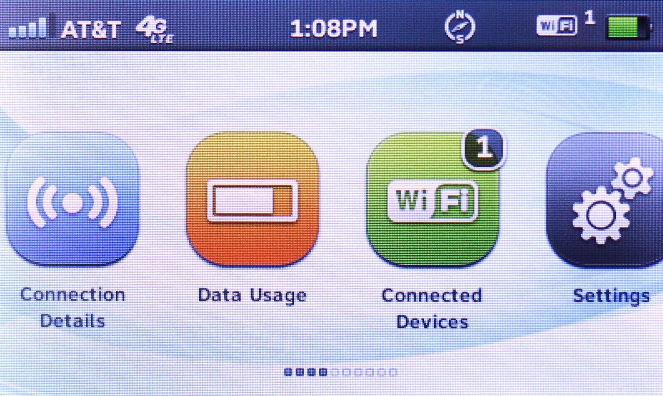 The first four buttons offer connection details, data usage, and more.