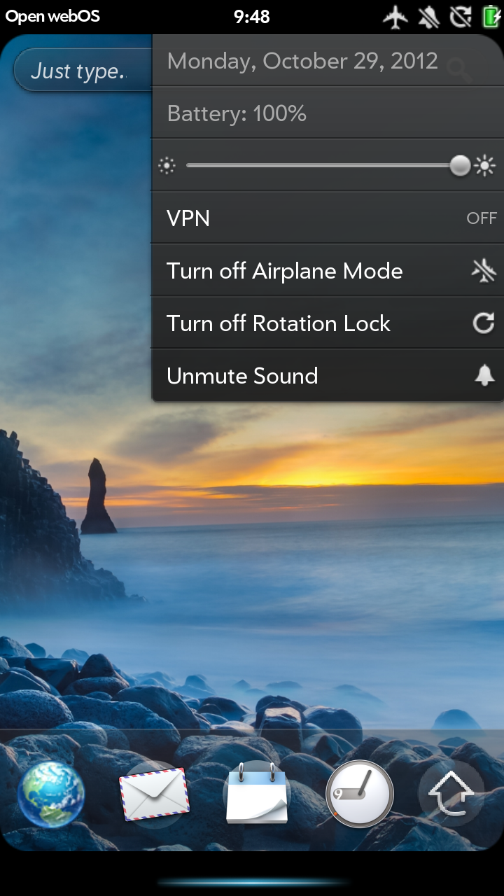 A screenshot of webOS on the Samsung Galaxy Nexus.