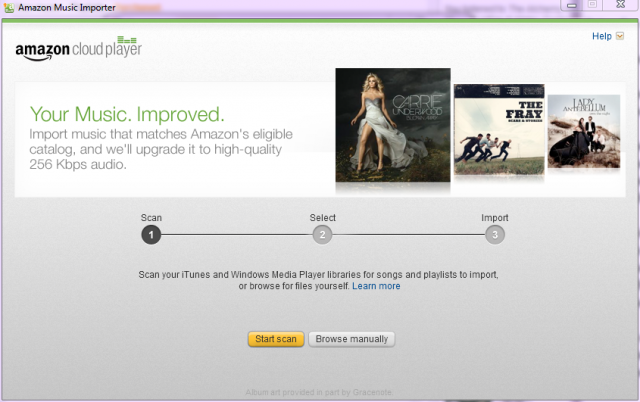 The Amazon Music Importer app only works with specific browsers.