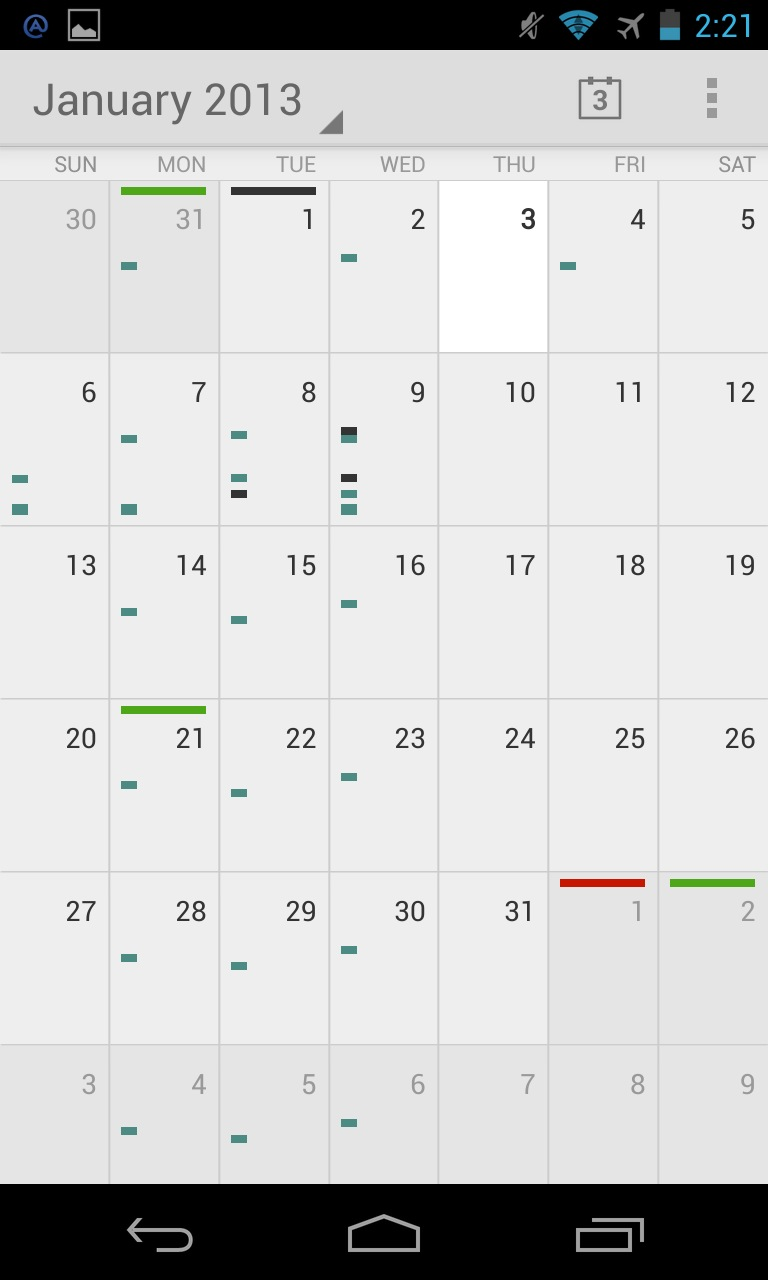 Android's Calendar app in monthly view