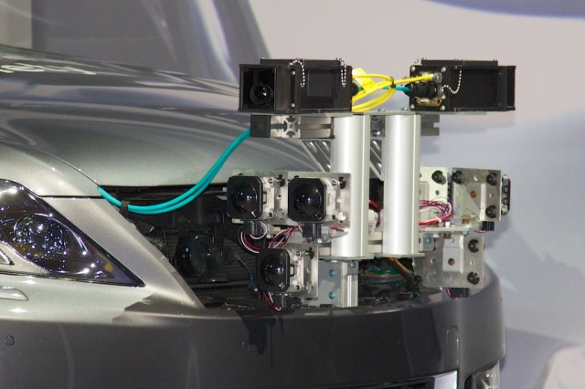 The research vehicle features a bevy of bow-mounted stereoscopic sensors.