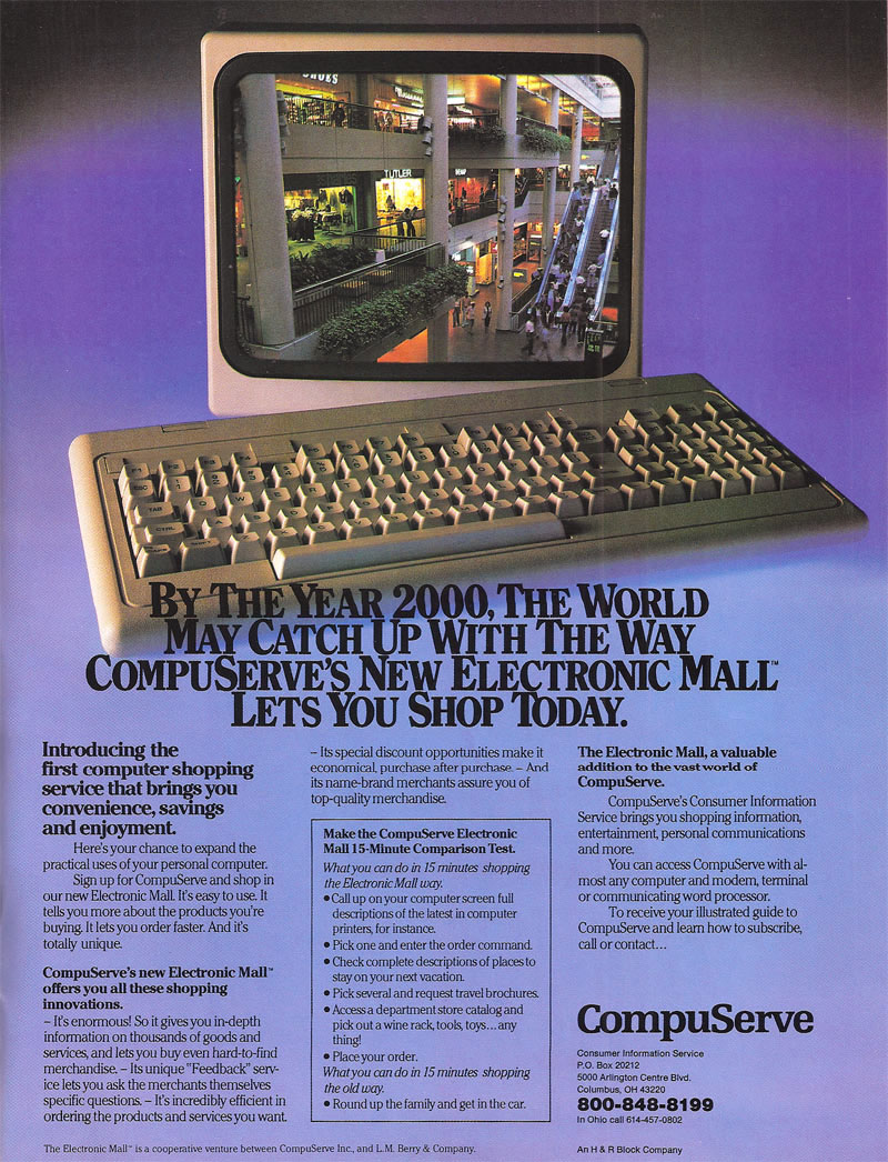 A May 1984 magazine ad for CompuServe's Electronic Mall.