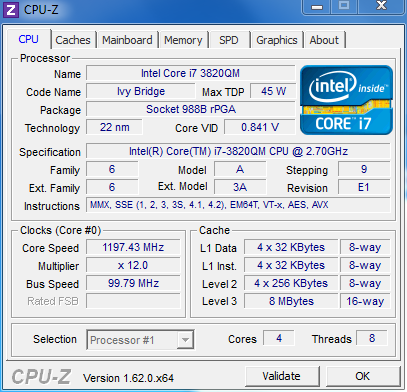 CPU-Z showing the 8770w's upgraded CPU.
