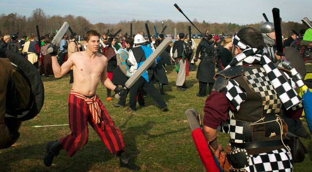 During the first battles of the day at Bellum Aeternus, armor—and shirts—were optional.