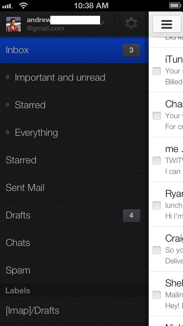 As you'll see shortly, the Gmail app employs swipe-heavy navigation and a layout very similar to the Sparrow for iOS app.