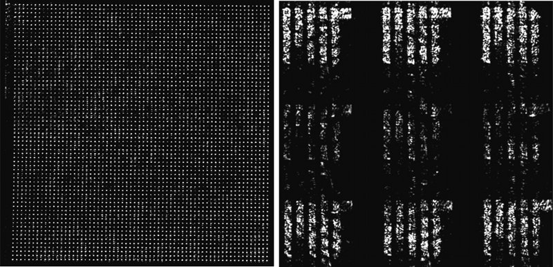 The image of the MIT logo produced from the nanophotonic phased array (NPA). The left image is light near the NPA, while the right is the far-field image, such as might be received by a distant detector.