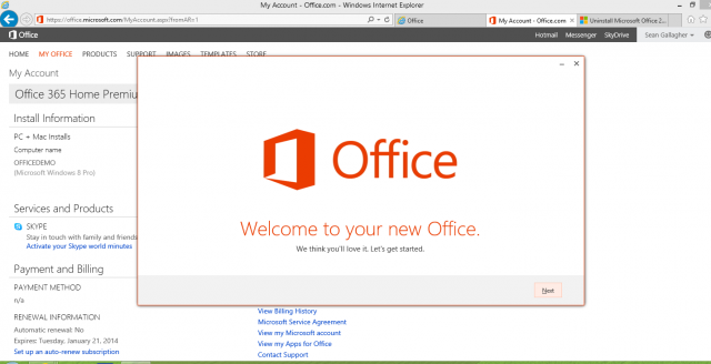 From here on out, it's like any other Office install—except that you'll be able to start using applications while components are still being pulled down from Microsoft's cloud.