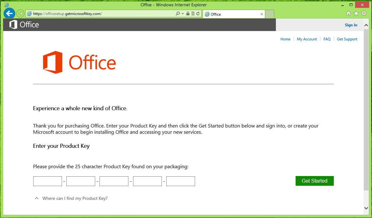 The Office installation page on Microsoft's Office.com website.