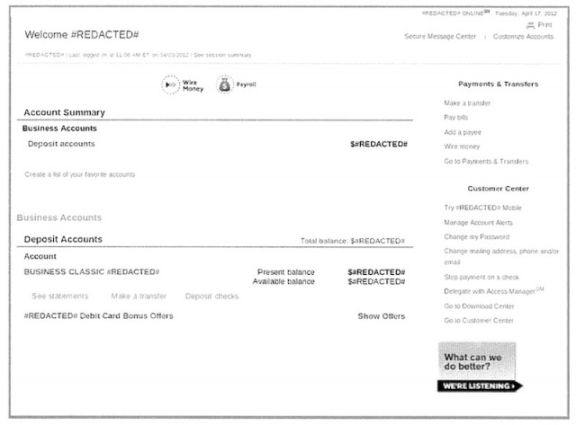 Injection in action: the original banking website.