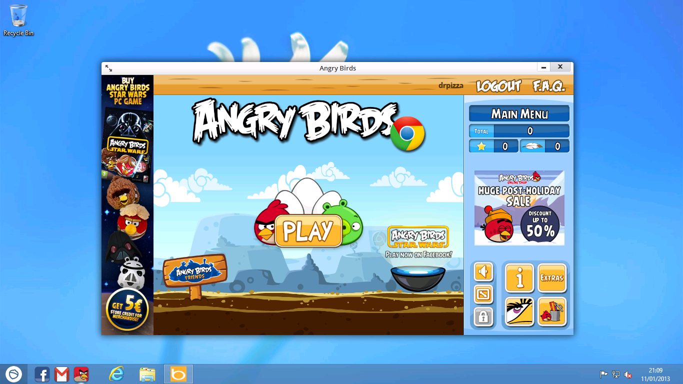 "One of Pokki's ""apps."" The app itself is just a slightly repackaged version of Angry Birds for Chrome. You even have to log in to it with your Google account."