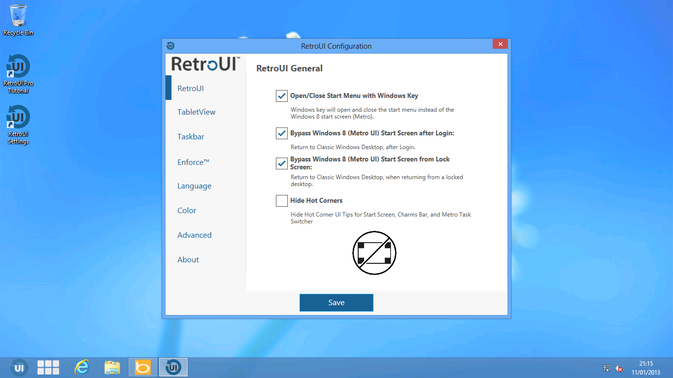RetroUI's settings screens.