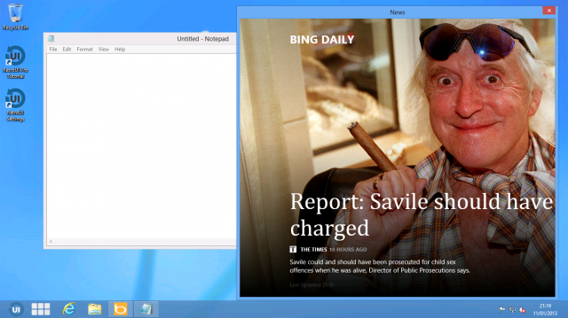 The Metro News app running in a window alongside regular windows apps, thanks to RetroUI.