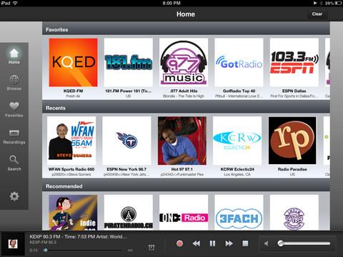TuneIn Radio Pro.