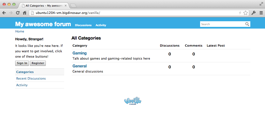 """What the site looks like to a guest. The """"Mods and admins"""" category is invisible and inaccessible."""