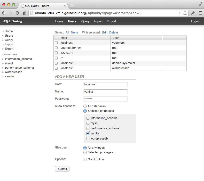 Adding our Vanilla database user.