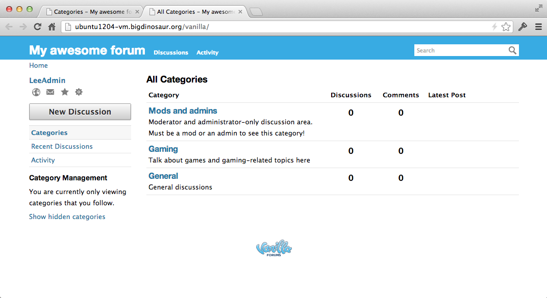 The front page of your forum, showing the three created categories.
