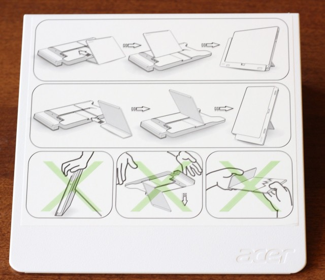 """The stand includes handy instructions on how to use it, including """"don't take it in both of your hands and snap it in half, you idiot."""""""