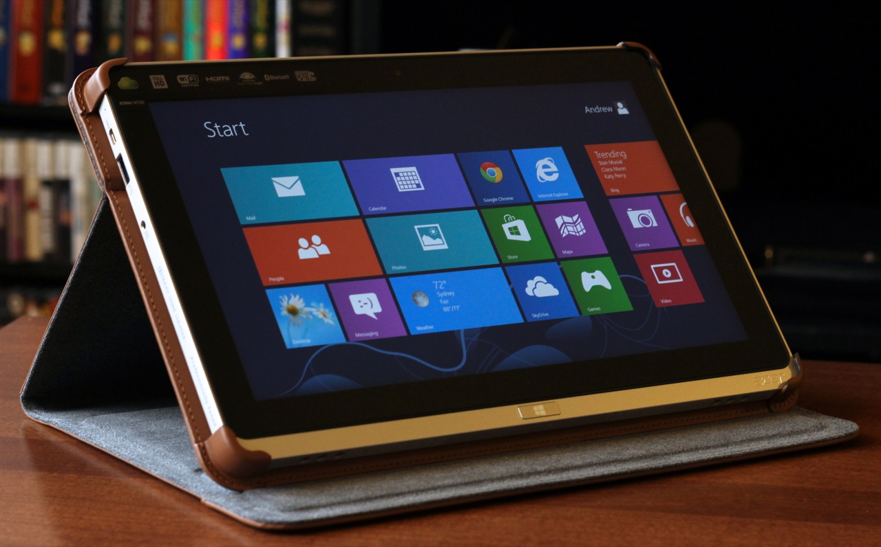 """The tablet and its case, here shown in """"video mode."""""""