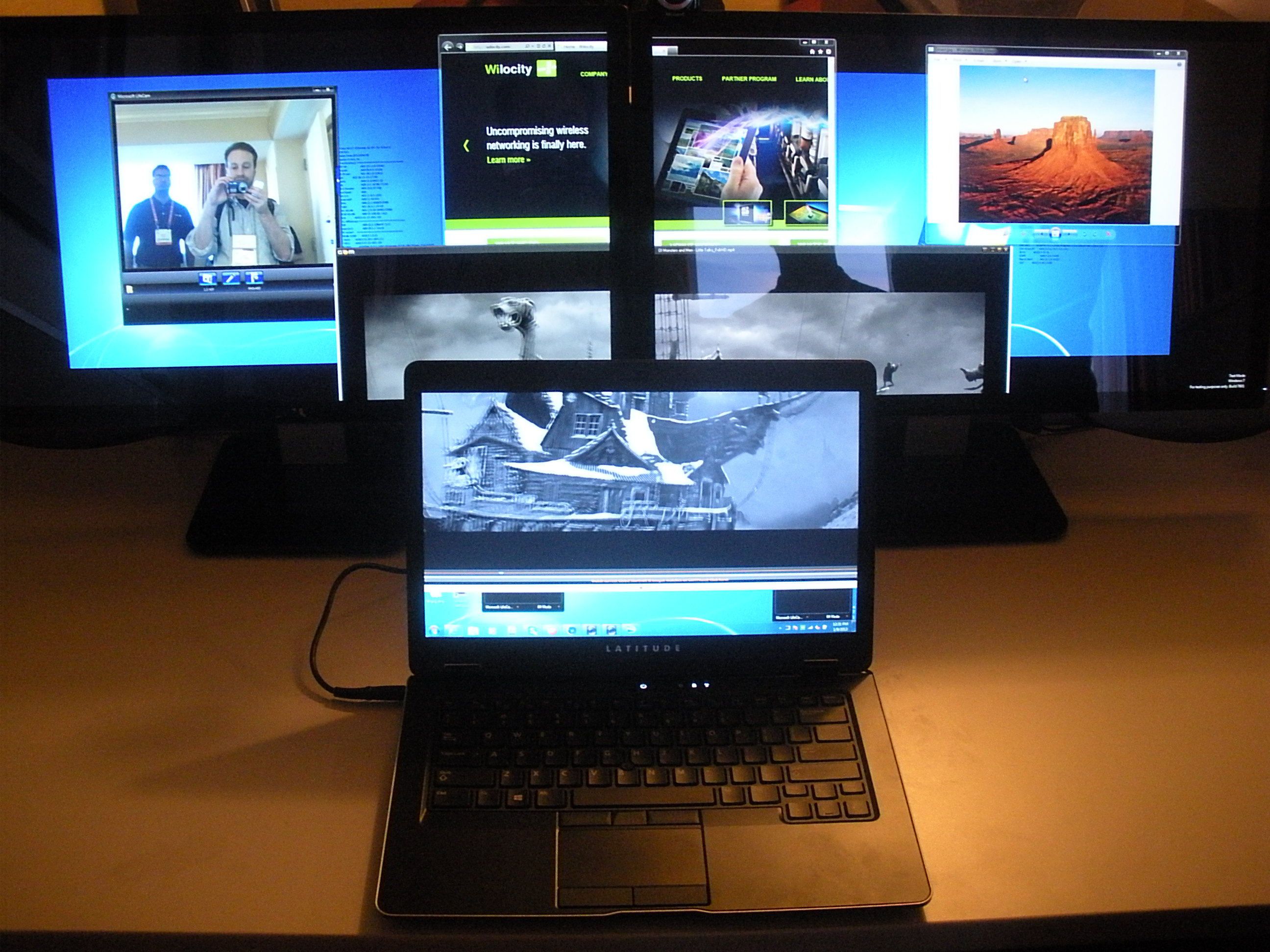 An Ultrabook powering two monitors, wirelessly through WiGig.