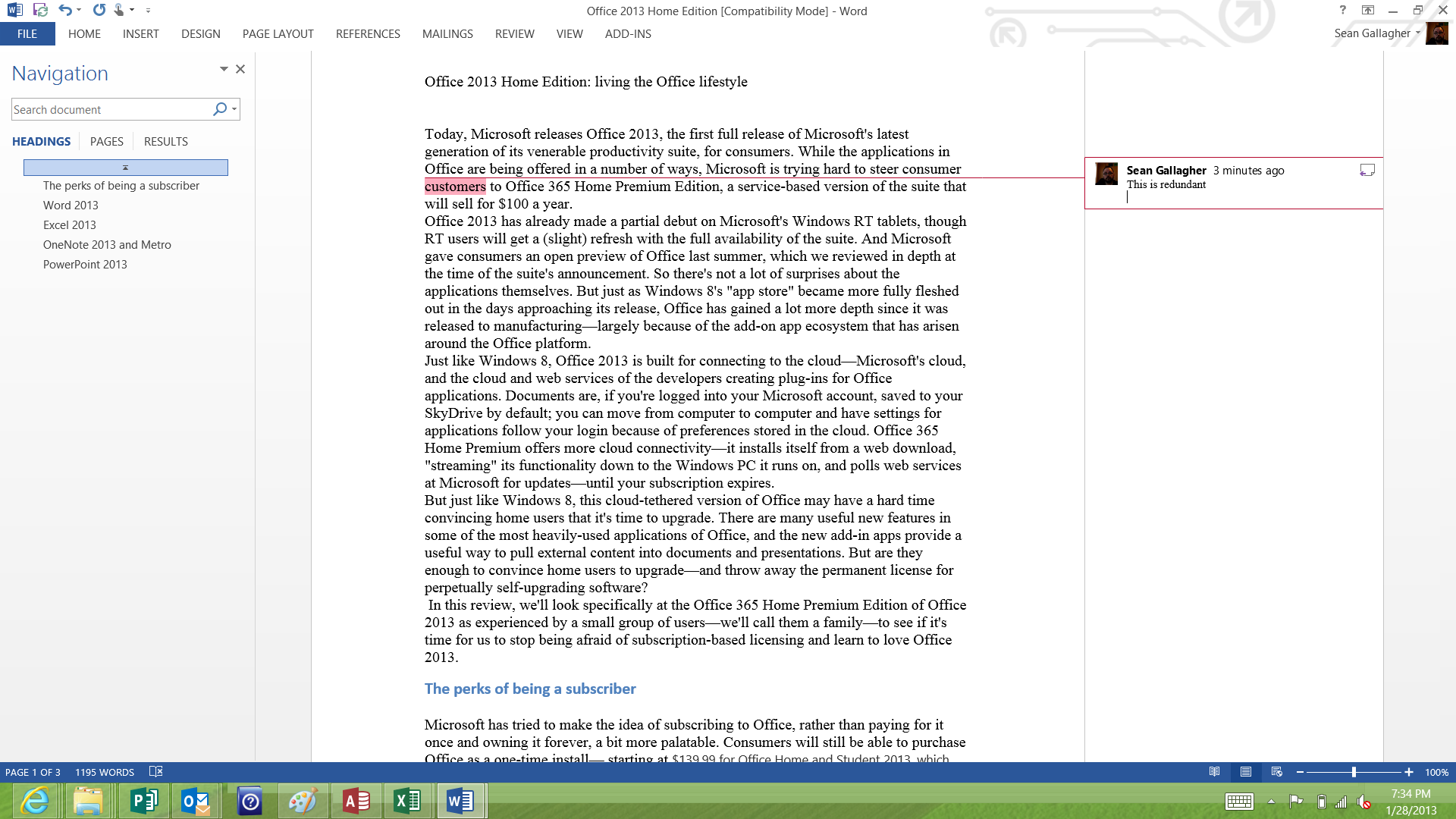 The clean, painless reader-oriented navigation view in Word 2013, with the simplified markup for comments demonstrated.