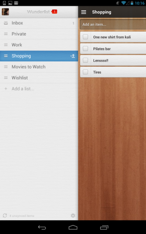 Wunderlist provides these ready-to-use categories for new users.