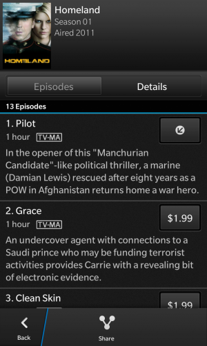 You can buy individual episodes of popular television shows through BlackBerry World.