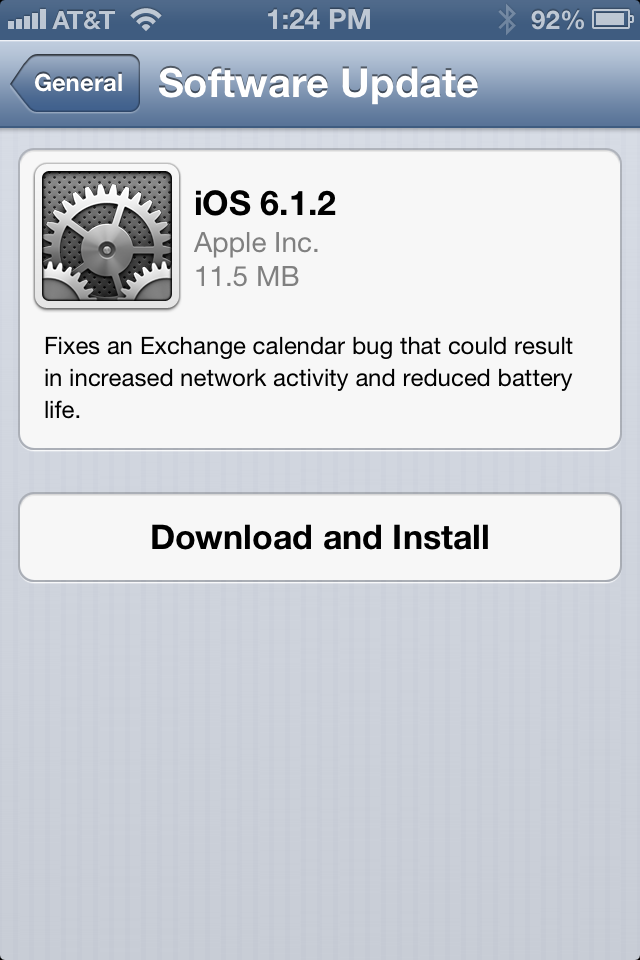 iOS 6.1.2 brings a microscopic but important list of changes.