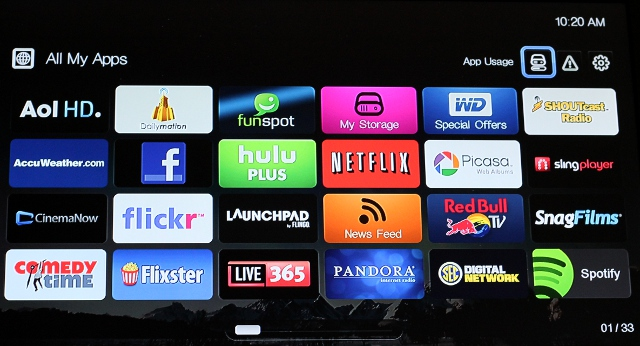 Some of the 33 apps available for the WD TV Play.