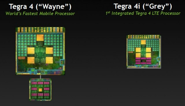 Compare the separate i500 modem below the Tegra 4 chip to the fuchsia cores that represent the i500 modem in the Tegra 4i—they're the same modem, and they share the same capabilities.