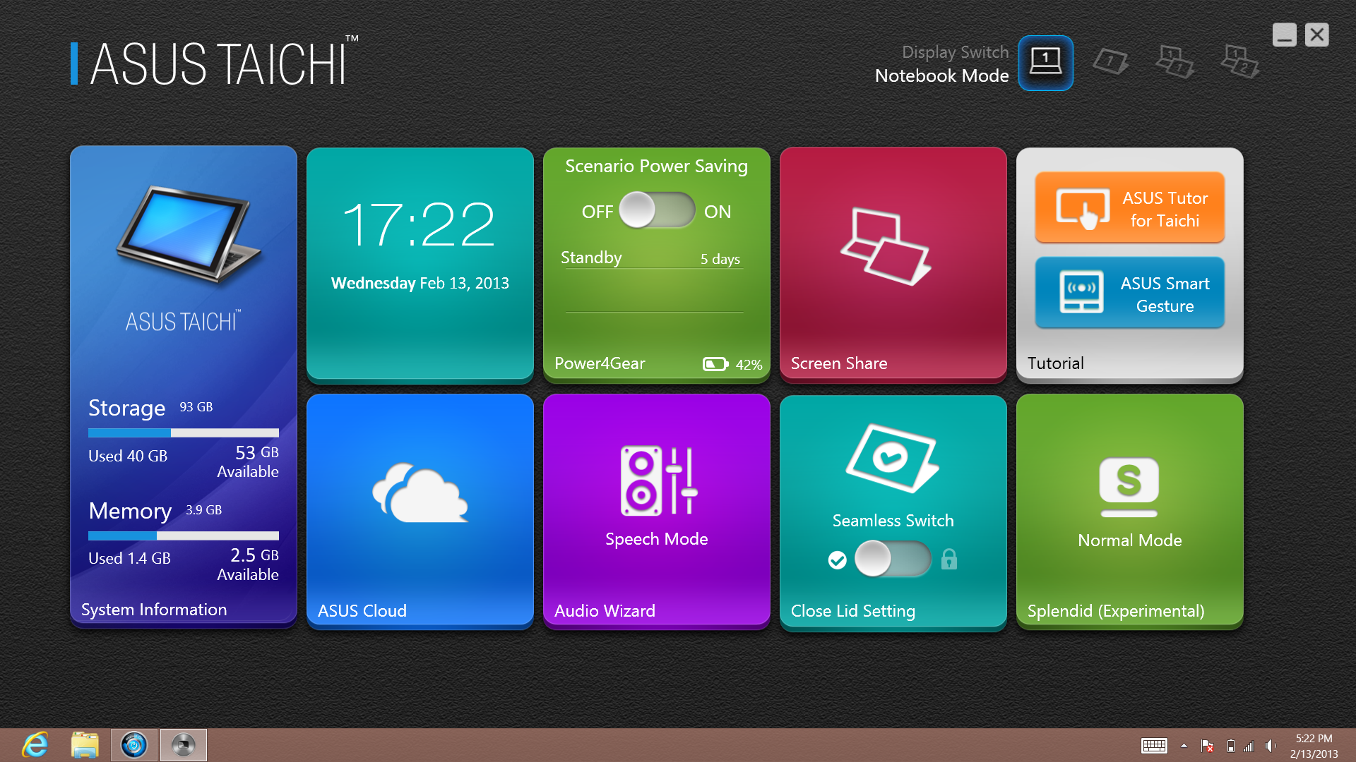 The upper-right corner of the Taichi Home application allows you to switch easily between the four display modes.