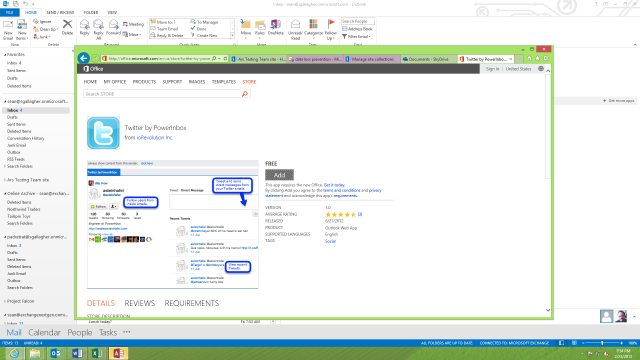 Office.com's Apps for Outlook app store includes apps for Twitter, LinkedIn, and other services.