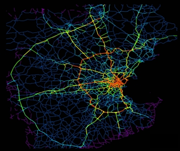 Boston-area roads. Red areas are the biggest sources of drivers. Yellow is next, then green, dark blue, and purple.