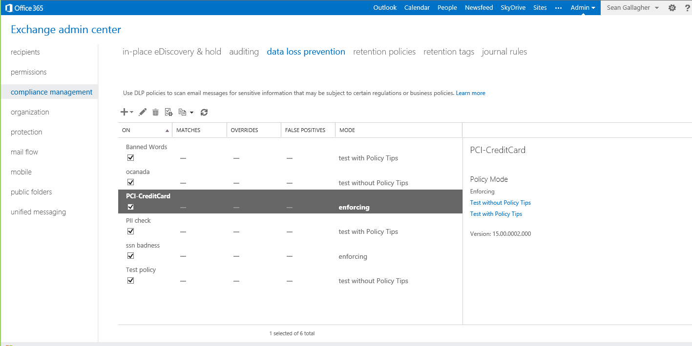 The Data Loss Prevention feature of Exchange 2013 and Exchange Online comes with a number of ready-made pattern recognition templates you can build policies around.