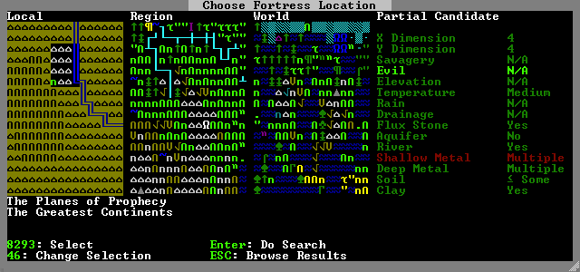 Choosing a new site, not a random this time, such that my dwarves aren't doomed forthwith.
