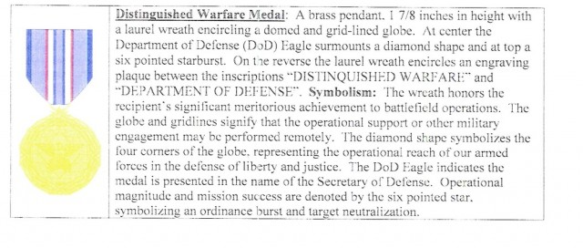 The design and description of the Distinguished Warfare Medal, from the DOD memorandum authorizing it.