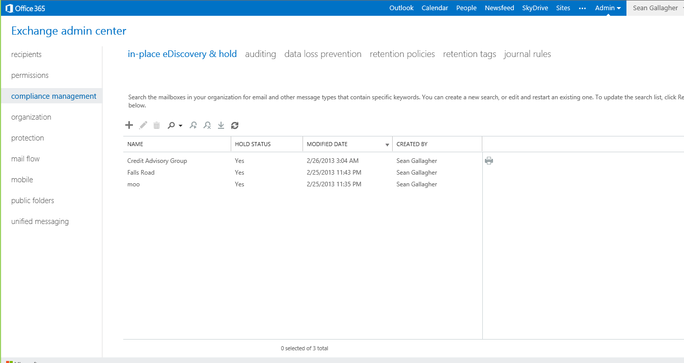 Setting up an e-discovery policy in Exchange 2013 is as easy as creating a search query.