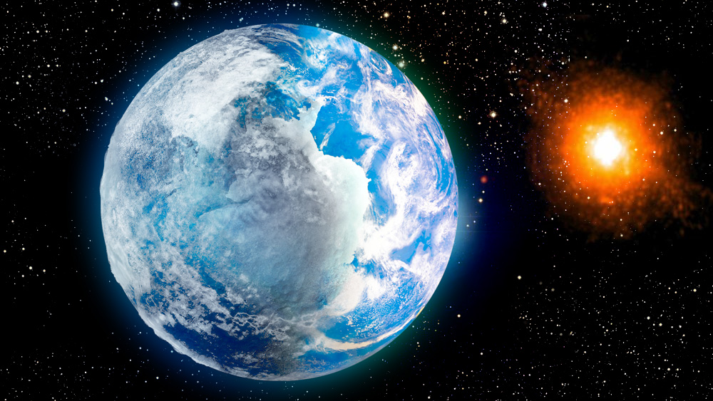 """Artist's conception of the """"eyeball Earth,"""" where a dim star melts the side of the planet that faces it."""