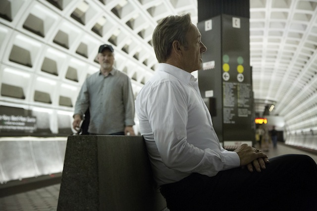 Director David Fincher works with Kevin Spacey during filming for House of Cards.