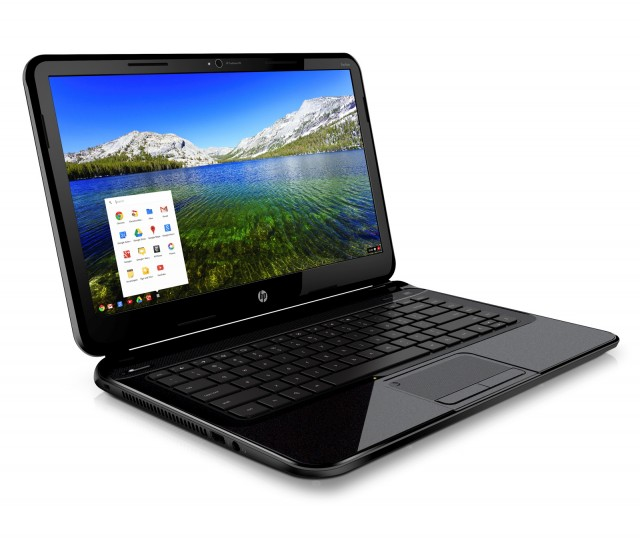 Press shot of HP's Pavilion Chromebook. Its portrayal of the screen's color and viewing angles is probably a bit too optimistic.