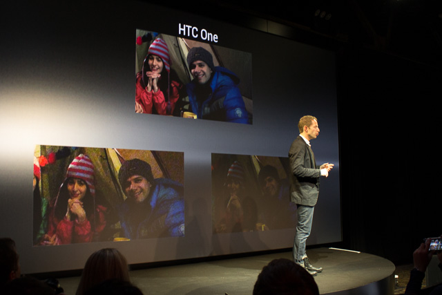 HTC displays a comparison of low-light photos taken by the new HTC One, top, and two other unnamed smartphones along the bottom.