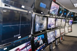 The array of monitors lining the Test Director control room, allowing the TDs to monitor both the astronauts and the divers underwater.