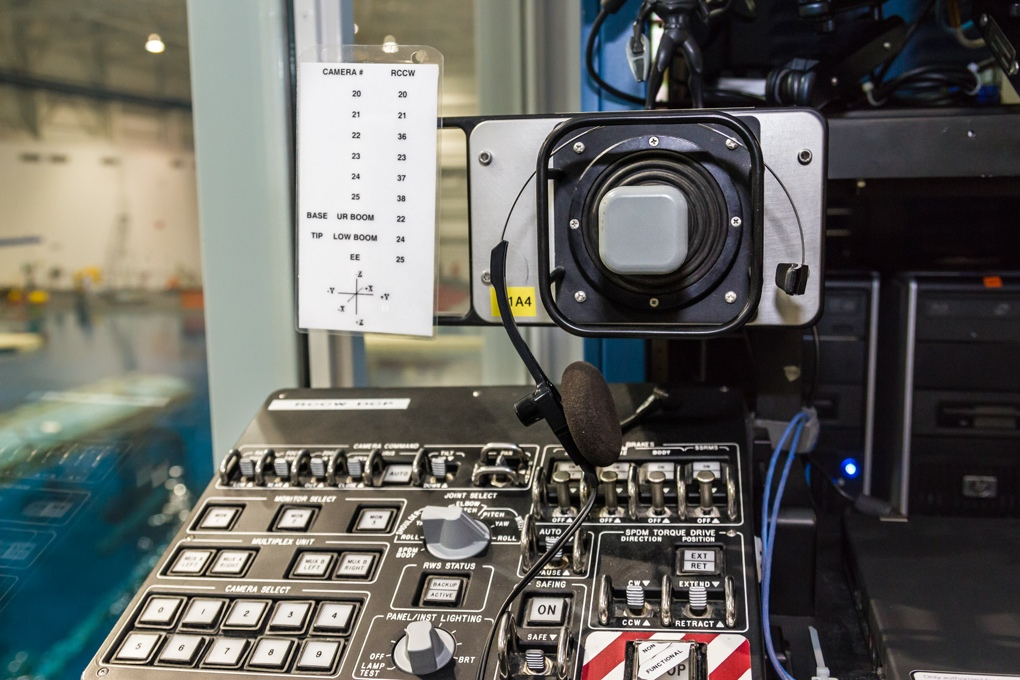 """Controls for the NBL's """"robot arm""""—the underwater Space Station Remote Manipulator System duplicate."""